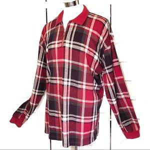 Eddie Bauer Quarter Zip Plaid Pullover Shirt XL
